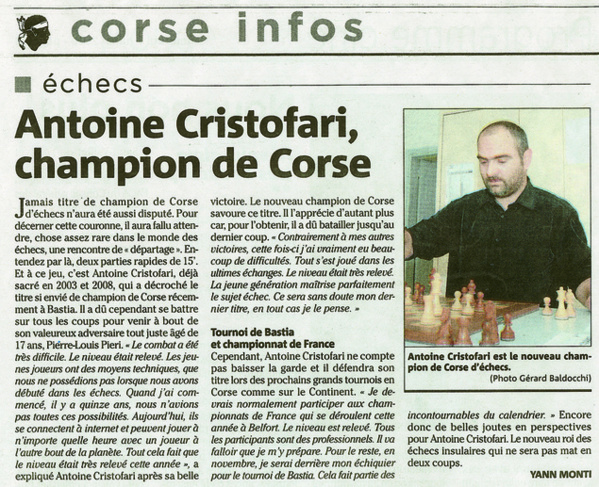 Antoine Cristofari, champion de Corse