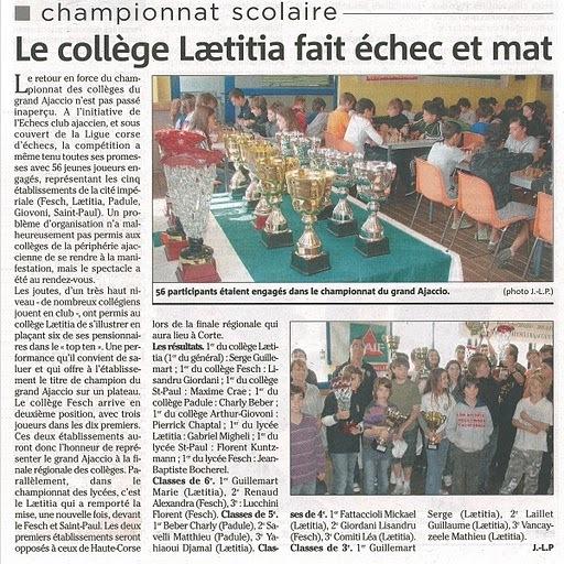 Le collège Lætitia fait échec et mat
