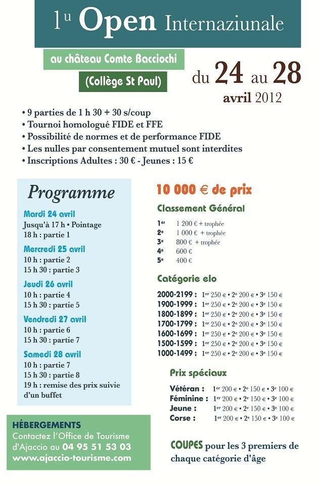 1u Open Internaziunale d'Aiacciu, inscrivez vous !