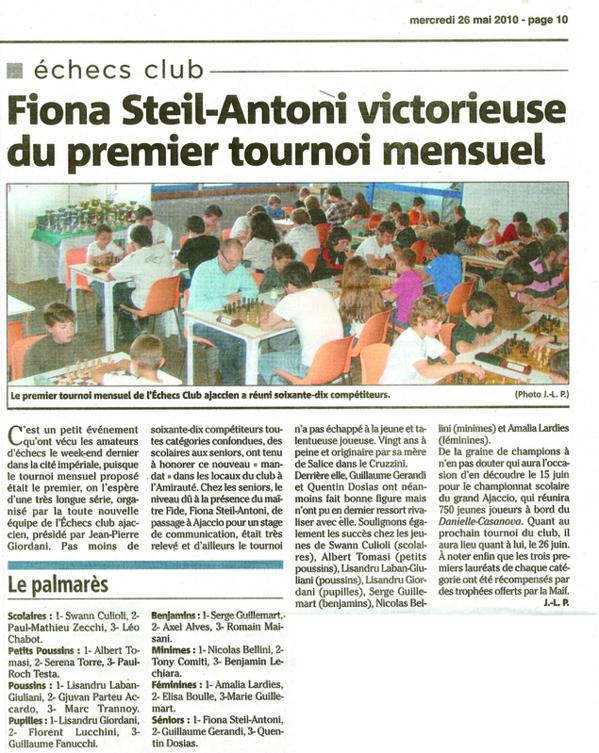 Fiona Steil-Antoni victorieuse du premier tournoi mensuel