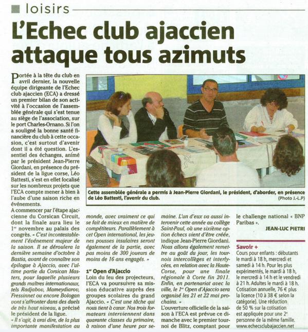 L'Échecs Club Ajaccien attaque tous azimuts