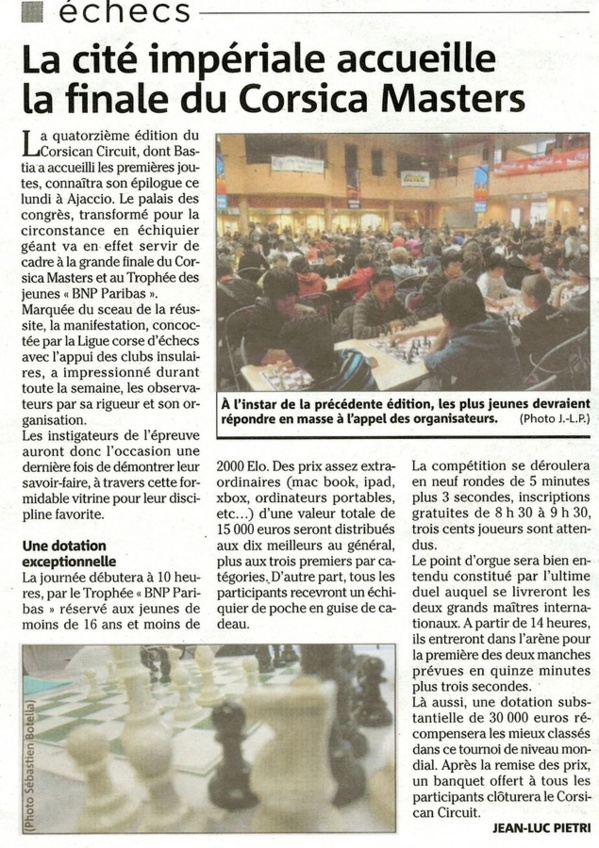 La cité impériale accueille la finale du Corsica Masters