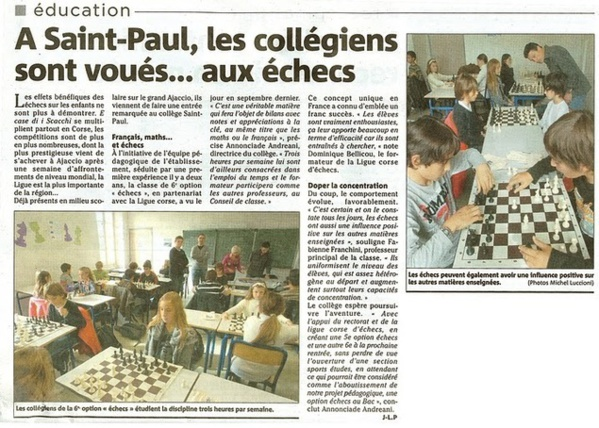 A Saint-Paul, les collégiens sont voués...aux échecs