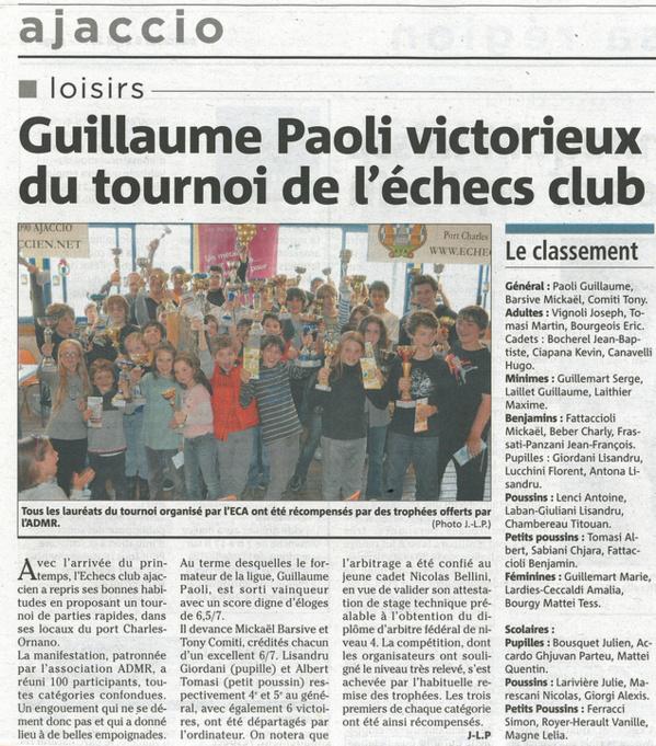 Guillaume Paoli victorieux du tournoi de l'échecs club