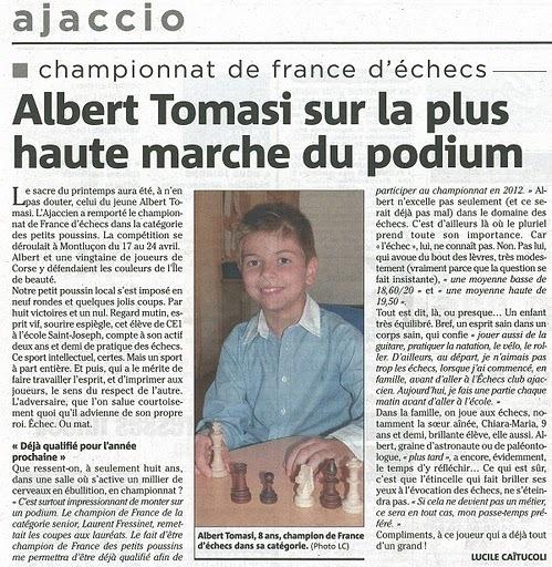 Albert Tomasi sur la plus haute marche du podium