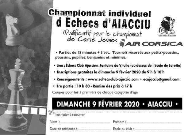 """Qualificatif du championnat corse jeune - Aiacciu """"Tournoi Air-Corsica"""" ce dimanche 9 février"""